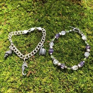 Jewelry - Two Sterling Silver Bracelets - 1 Charm, 1 Beaded
